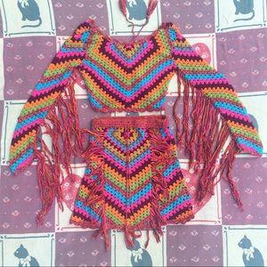 SPELL Joni Crochet Skirt and Shirt Festival Set